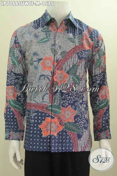 Baju Batik Super Premium Bahan Halus Tulis Tangan Motif Terkini, Batik Sutra Twis Buatan Solo Model Lengan Panjang Pake Furing [LP7066SUWTF-M]