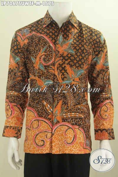 Batik Hem Lengan Panjang Bahan Sutra Twis, Baju Batik Pejabat Masa Kini Motif Berkelas Model Lengan Panjang Full Furing Tampil Makin Percaya Diri [LP7067SUWTF-M]