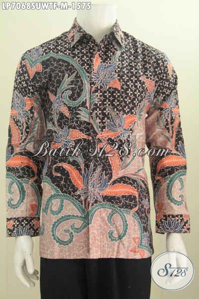 Jual Kemeja Batik Mewah Bahan Sutra Twis Model Lengan Panjang Full Furing Motif Tulis Tangan, Cocok Buat Pejabat Dan Eksekutif [LP7068SUWTF-M]