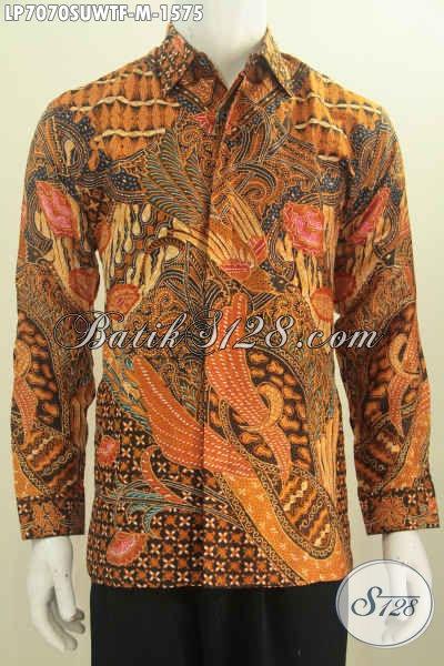 Pusat Penjualan Pakaian Batik Premi, Jual Online Hem Batik Sutra Mewah Halus Lengan Panjang Full Furing Motif Terkini Tulis Tangan, Size M Cocok Untuk Pejabat