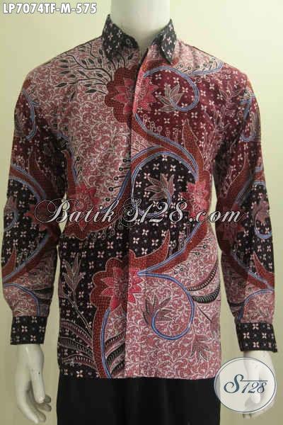 Pakaian Bati Pria Muda Ukuran M Model Lengan Panjang Full Furing, Baju Batik Mewah Motif Terkini Tulis Tangan Asli Buatan Solo Indonesia [LP7074TF-M]