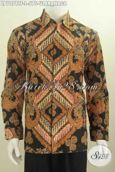 Hem Batik Elegan Dengan Warna Klasik Nan Mewah Motif Ular Naga, Baju Lengan Panjang Premium Proses Tulis Daleman Full Furing Untuk Pria Makin Gagah [LP7078TF-L]