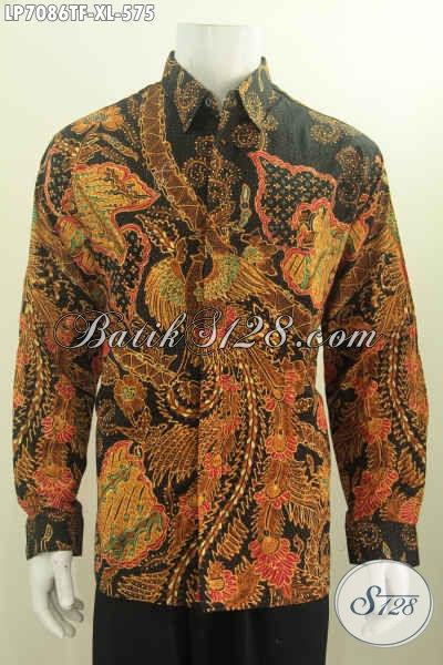 Baju Kerja Batik Lengan Panjang Size XL, Busana Batik Elegan Berkelas Full Furing Lengan Panjang Proses Tulis Di Jual Online Harga Grosir [LP7086TF-XL]