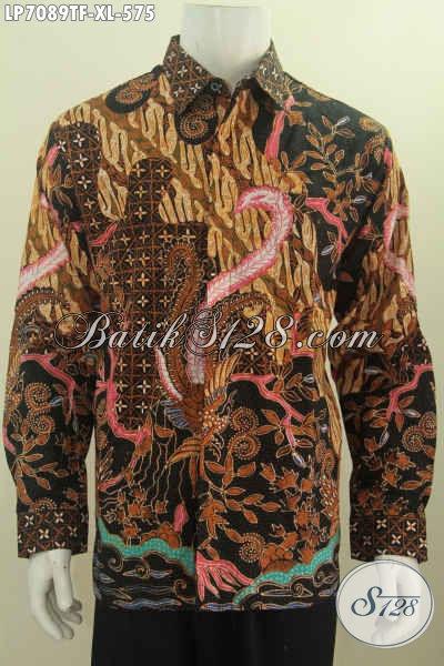 Jual Baju Batik Klasik Nan Mewah, Hem Lengan Panjang Pake Furing Proses Tulis Buat Lelaki Dewasa Terlihat Gagah Berwibawa [LP7089TF-XL]