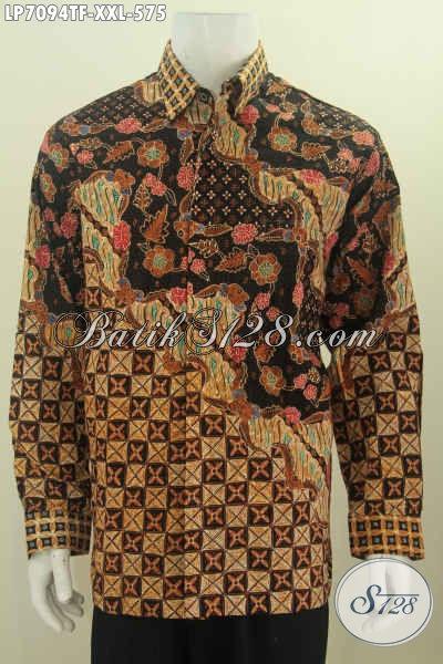 Hem Batik Tulis 3L, Pakaian Batik Tulis Mewah Halus Kwalitas Bagus Lengan Panjang Buatan Solo Untuk Penampilan Lebih Sempurna, Size XXL