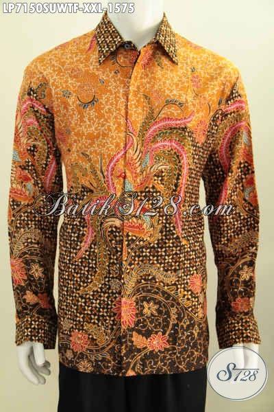 Batik Hem Jumbo Bahan Sutra, Pakaian Batik Elegan Dan Mewah Lengan Panjang Full Furing Motif Mewah Proses Tulis Tangan Asli Harga Di Atas 1 Juta [LP7150SUWTF-XXL]