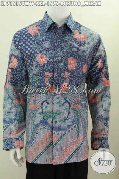 Hem Batik Jumbo Bahan Sutra, Kemeja Batik Mewah Buatan Solo Lengan Panjang Pake Furing Motif Tulis Tangan Asli, Size XXL
