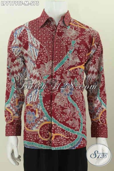 Busana Batik Elegan Dan Mewah, Baju Batik Premium Halus Motif Terkini Lengan Panjang Pake Furing Untuk Lelaki Terlihat Lebih Mempesona [LP7179TF-M]