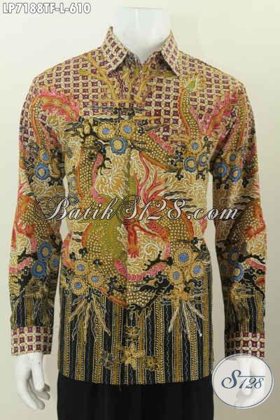 Baju Batik Lengan Panjang Mewah, Kemeja Batik Premium Halus Full Furing Warna Elegan Cocok Buat Rapat Dan Kondangan [LP7188TF-L]
