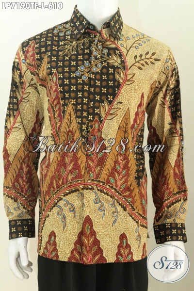 Sedia Kemeja Batik Lengan Panjang Premium, Busana Batik Mewah Size L Bahan Halus Motif Full Tulis, Baju Batik Pakai Furing Di Jual Online Harga 610K [LP7190TF-L]