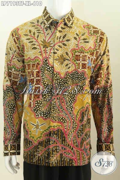 Koleksi Terbaru Kemeja Batik Tulis Premium Lengan Panjang Full Furing Motif Mewah Proses Tulis Buatan Solo, Elegan Untuk Rapat, Size XL