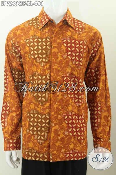 Jual Online Hem Batik Lengan Panjang Full Furing Halus Proses Cap Tulis Motif Klasik 300 Ribuan, Size XL