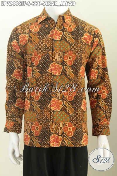 Hem Batik Bagus ELegan Dan Mewah, Baju Batik Solo Istimewa Proses Cap Tulis Motif Sekar Jagad Bahan Adem Harga 330K [LP7233CTF-S]