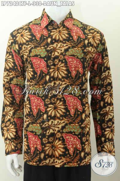 Baju Batik Lengan Panjang Size L, Busana Batik Full Furing Motif Daun Talas Proses Cap Tulis Asli Buatan Solo