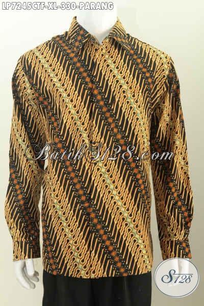 Baju Batik Parang Lengan Panjang Full Furing, Busana Batik Elegan Halus Proses Cap Tulis Bikin Pria Terlihat Berwibawa [LP7245CTF-XL]