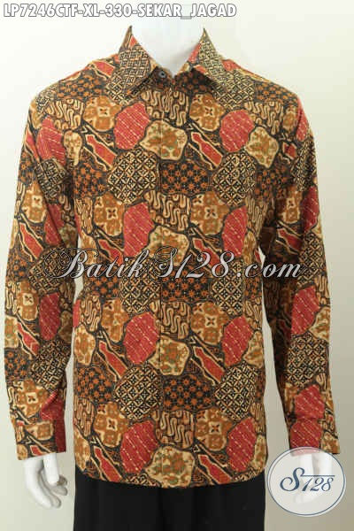 Baju Batik Klasik Sekar Jagad Proses Cap Tulis, Hem Batik Pria Dewasa Full Furing Model Lengan Panjang Hanya 330 Ribu, Size XL