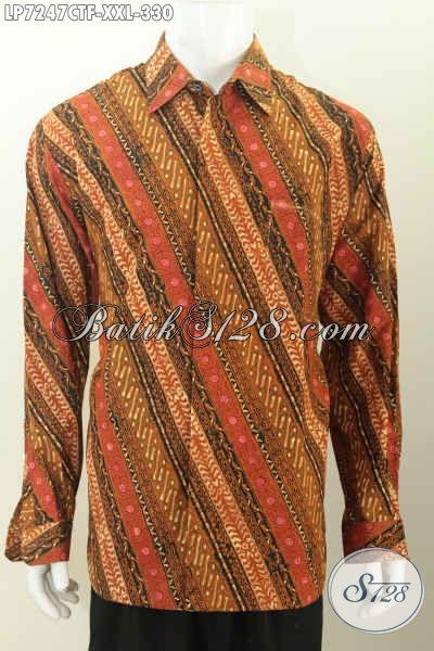 Baju Batik Klasik Lengan Panjang Jumbo, Pakaian Batik Halus Full Furing Bahan Adem Proses Cap Tulis Pria Gemuk Tampil Lebih Gagah Dan Tampan [LP7247CTF-XXL]