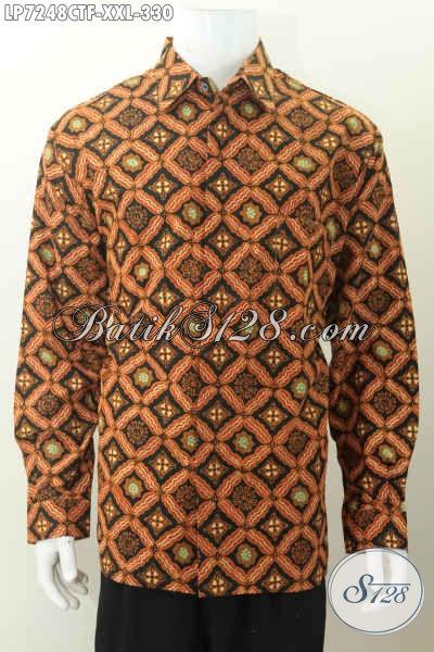 Pusat Baju Batik Online, Jual Hem Lengan Panjang 3L Bahan Adem Motif Klasik Proses Cap Tulis Daleman Full Furing Eksklusif Untuk Lelaki Gemuk [LP7248CTF-XXL]