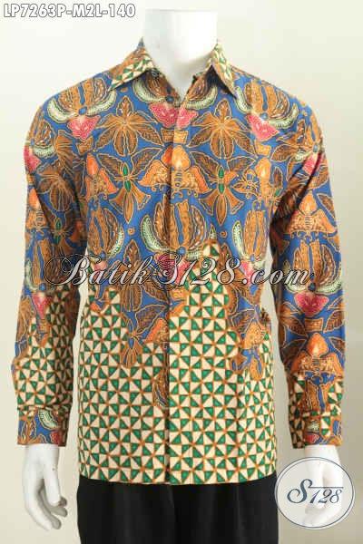 Kemeja Lengan Panjang Elegan Tidak Pakai Furing, Baju Batik Jawa Proses Printing Bisa Buat Kerja Dan Kondangan [LP7263P-L]