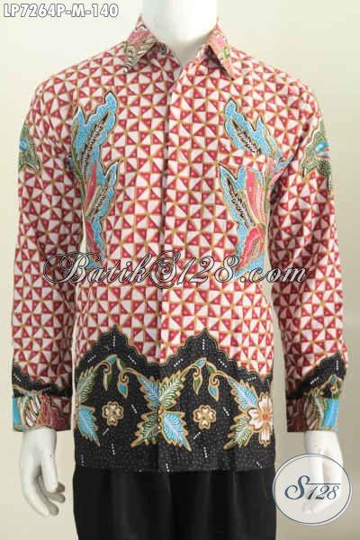 Jual Kemeja Batik Lengan Panjang Motif Mewah Proses Printing, Hem Batik Printing Size M harga 140K Bahan Adem Nyaman Di Pakai