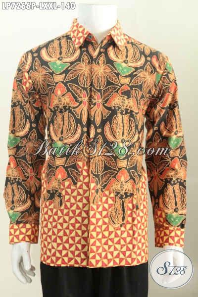 Hem Batik Printing Lengan Panjang Motif Terkini Elegan Untuk Kerja Dan Acara Resmi, Size L