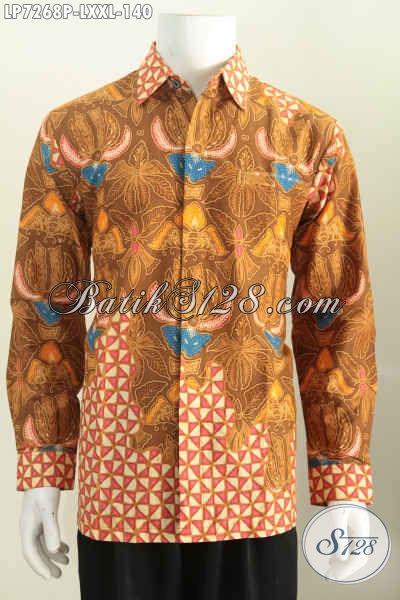 Hem Batik Printing Size L, Kemeja Batik Halus Lengan Panjang Bahan Adem Nyaman Di Pakai