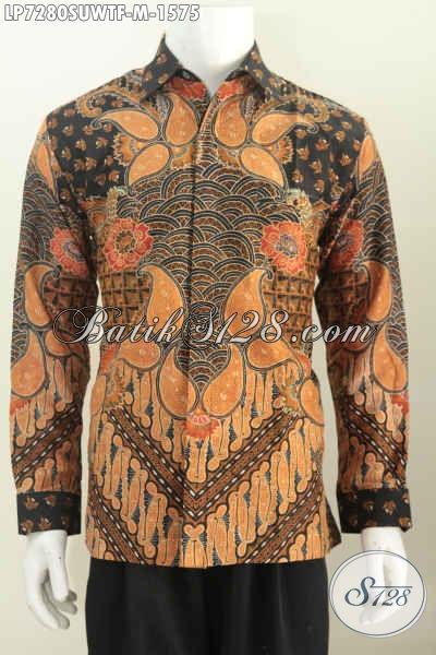 Produk Baju Batik Istimewa, Kemeja Batik Mewah Halus Khas Jawa Tengah Bahan Ustra Motif Klasik Lengan Panjang Full Furing, Cocok Untuk Eksekutif [LP7280SUWTF-M]
