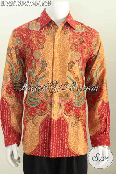 Jual Kemeja Batik Sutra Premium Size L, Baju Batik Istimewa Lengan Panjang Full Furing Motif Klasik Tulis Tangan