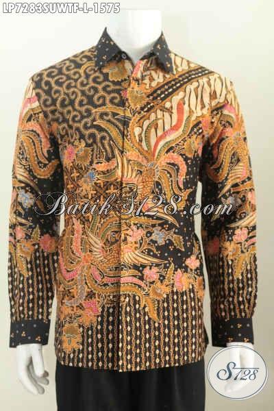 Sedia Busana Batik Premium Lengan Panjang Full Furing, Kemeja Batik Sutra Istimewa Motif Klasik Tulis Asli Harga 1.5 Jutaan, Size L