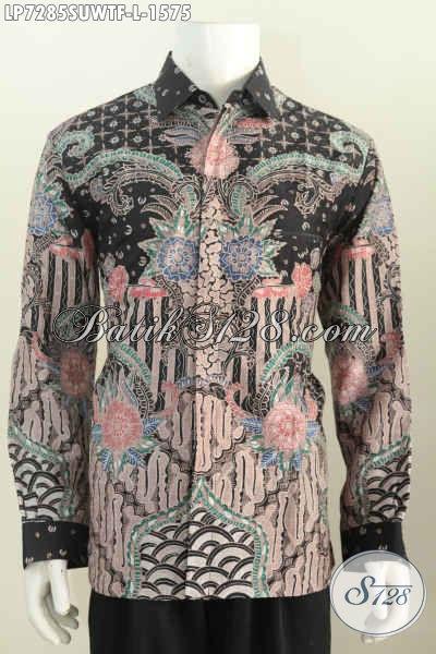 Toko Online Pakaian Batik Premium Solo, Sedia Kemeja Batik Sutra Mewah Halus Proses Tulis Lengan Panjang Full Furing Harga 1 Jutaan, Size L