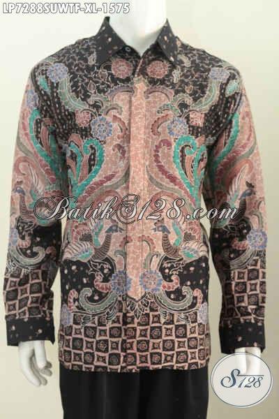 Sedia Hem Batik Sutra Size XL, Kemeja Batik Super Mahal Proses Tulis Model Lengan Panjang Full Furing Untuk Rapat Para Eksekutif