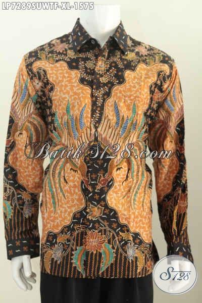 Hem Batik Premium Bahan Sutra Yang Bikin Pria Terlihat Gagah Dan Percaya Diri, Pakaian Batik Premium Lengan Panjang Full Furing Motif Tulis Tangan Asli Dari Solo [LP7289SUWTF-XL]
