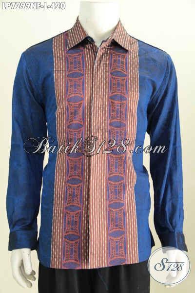 Hem Tenun Halus Warna Biru Dengan Desain Motif Mewah Untuk Penampilan Lebih Berkelas, Baju Tenun Lengan Panjang Full Furing Di Jual Online 420K [LP7299NF-L]