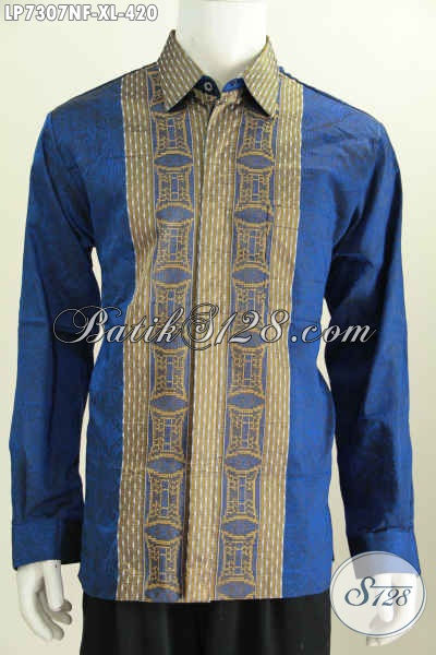 Hem Tenun Warna Biru Motif Bagus Dan Mewah, Kemeja Tenun Lengan Panjang Full Furing Hanya 400 Ribuan, Size XL
