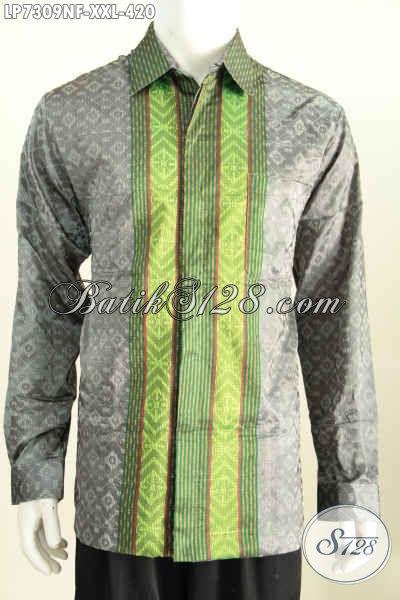 Hem Tenun Jumbo, Baju Tenun Halus Mewah Lengan Panjang Pake Furing, Pakaian Pria Gemuk Untuk Tampil Istimewa [LP7309NF-XXL]