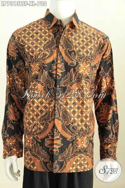 Baju Batik Tulis Soga Motif Mewah Terkini, Pakaian Batik Solo Halus Bahan Adem Model Lengan Panjang Full Furing Harga 700K, Size XL