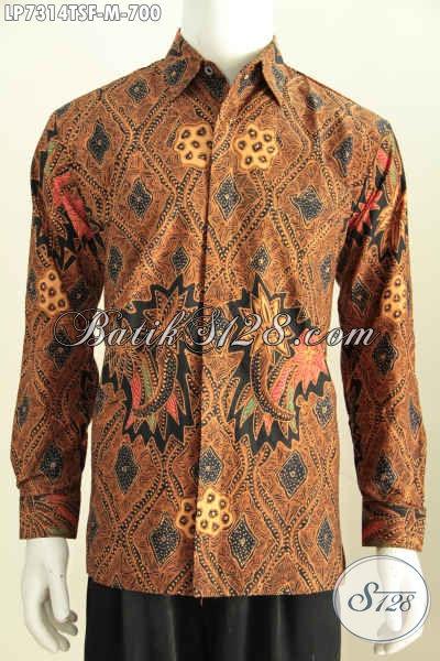 Pakaian Batik Klasik Mewah Lengan Panjang Halus Full Furing Bahan Adem Proses Tulis Soga Untuk Penampilan Lebih Gagah Dan Ganteng [LP7314TSF-M]