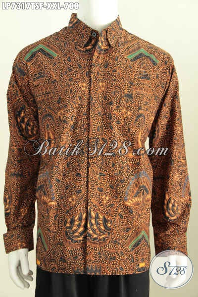 Hem Batik Solo Klasik Lengan Panjang Premium Harga 700 Ribu, Busana Batik Pria Gemuk Size 3L Bahan Adem Proses Tulis Soga Pas Buat Acara Formal [LP7317TSF-XXL]