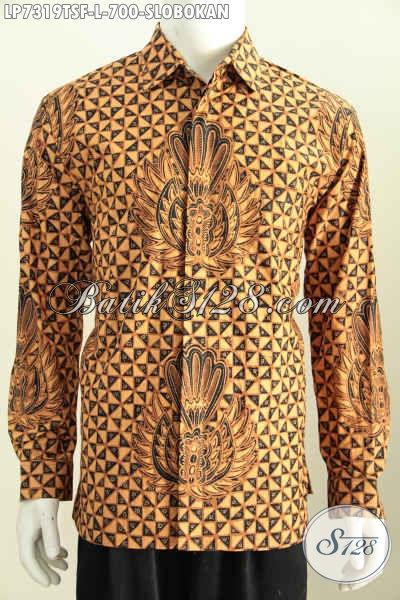 Baju Batik Mahal Motif Klasik Slobokan, Hem Batik Lengan Panjang Full Furing Halus Proses Tulis Soga Untuk Penampilan Lebih Mempesona, Size L