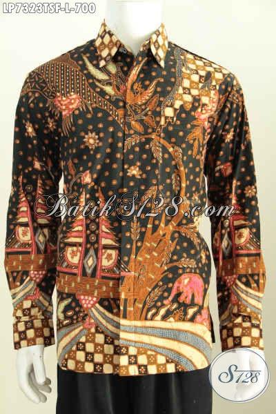 Baju Batik Istimewa Model Lengan Panjang, Hem Batik Halus Full Furing Motif Mewah Proses Tulis Soga Cocok Untuk Acara Formal Dan Kondangan [LP7323TSF-L]