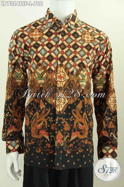 Hem Batik Lengan Panjang Full Furing Bahan Adem Motif Bagus Proses Tulis Soga Untuk Pejabat, Size L