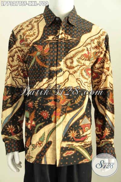 Baju Kemeja Lengan Panjang Mewah Full Furing Halus Proses Tulis Soga Motif Bagus Banget Spesial Untuk Pria Gemuk, Size XXL