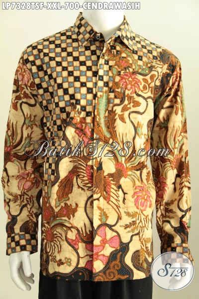 Hem Batik Jumbo Mewah Motif Burung Cendrawasih, Pakaian Batik Istimewa Untuk Tapil Gagah Dan Tampan Model Lengan Panjang Full Furing Tulis Soga, Size XXL