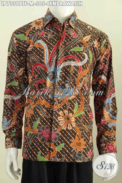 Jual Online Pakaian Batik Bagus Buatan Solo Proses Kombinasi Tulis, Hem Batik Lengan Panjang Full Furing Harga Terjangkau Untuk Kerja Dan Kondangan [LP7339BTF-M]