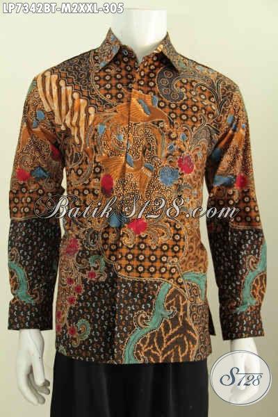 Jual Baju Batik Online Motif Bagus Model Lengan Panjang Kombinasi Tulis Harga 305K Asli Buatan Solo [LP7342BT-M]