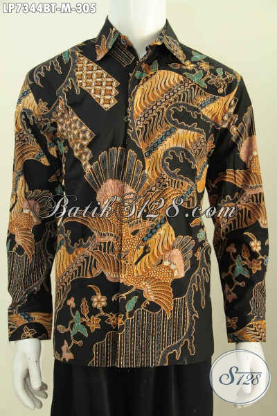 Kemeja Batik Lengan Panjang Kwalitas Bagus, Baju Batik Solo Elegan Motif Terkini Kombinasi Tulis Yang Bikin Coowk Terlihat Macho [LP7344BT-M]