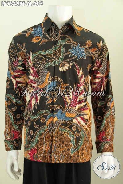 Sedia Baju Batik Lengan Panjang Mewah Halus Buatan Solo, Kemeja Batik Full Furing Bahan Adem Proses Kombinasi Tulis Untuk Lelaki Terlihat Istimewa [LP7346BTF-M]
