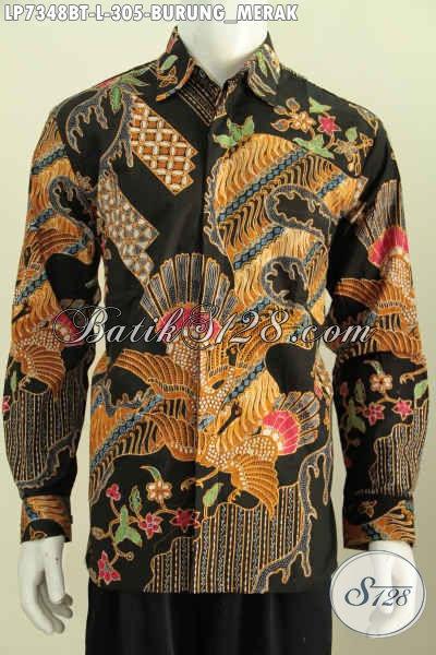 Kemeja Batikm Motif Burung Merak, Baju Batik Pria Size L Kwalitas Bagus Lengan Panjang Full Furing Proses Kombinasi Tulis Desain Formal [LP7348BTF-L]