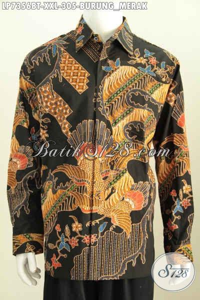 Baju Batik Solo Halus Lengan Panjang Motif Burung Merah, Produk Hem Batik Kombinasi Tulis Kwalitas Mewah Harga Terjangkau [LP7356BT-XXL]