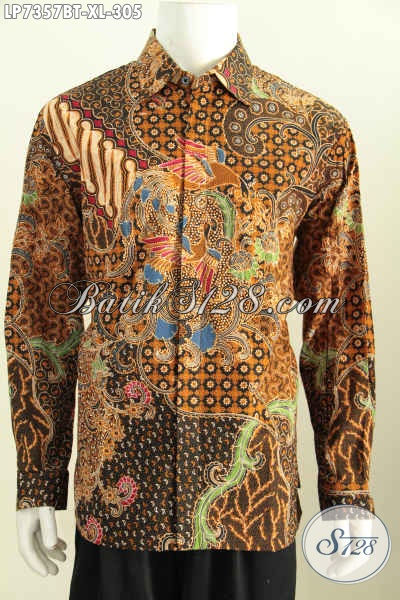 Baju Kemeja Batik Pria Dewasa Lengan Panjang Full Furing Motif Klasik Kombinasi Tulis Untuk Penampilan Lebih Berwibawa, Size XL